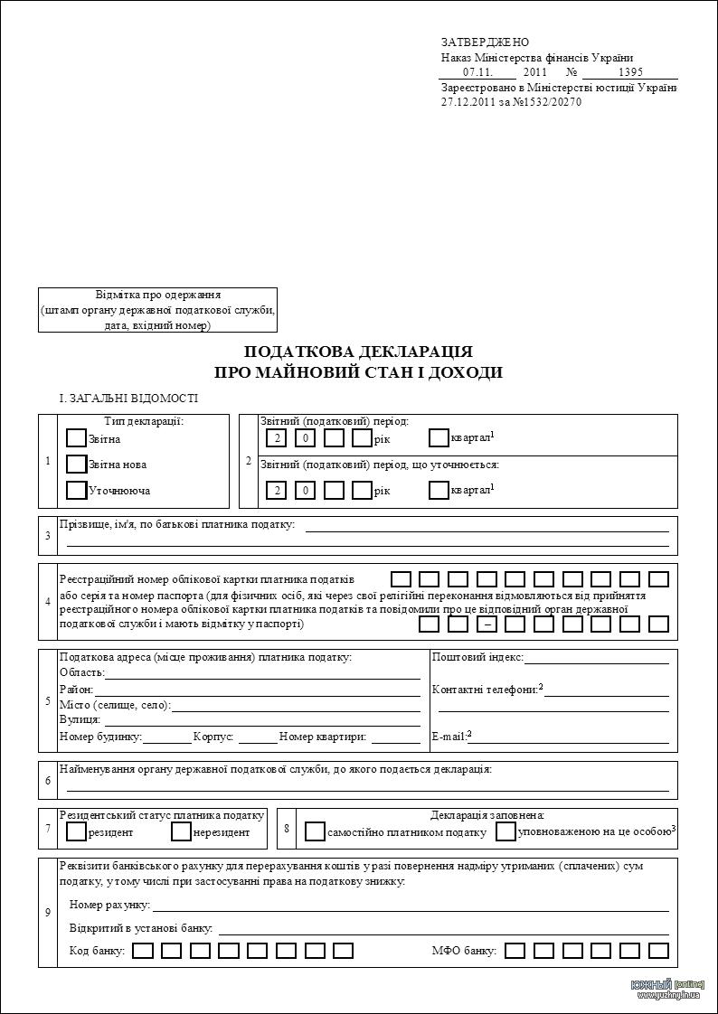 Податкова декларація про майновий стан і доходи з додатками